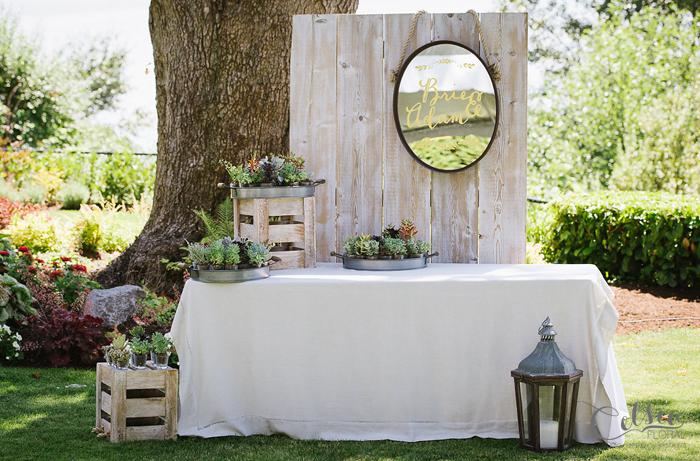 Succulent guest favor display.