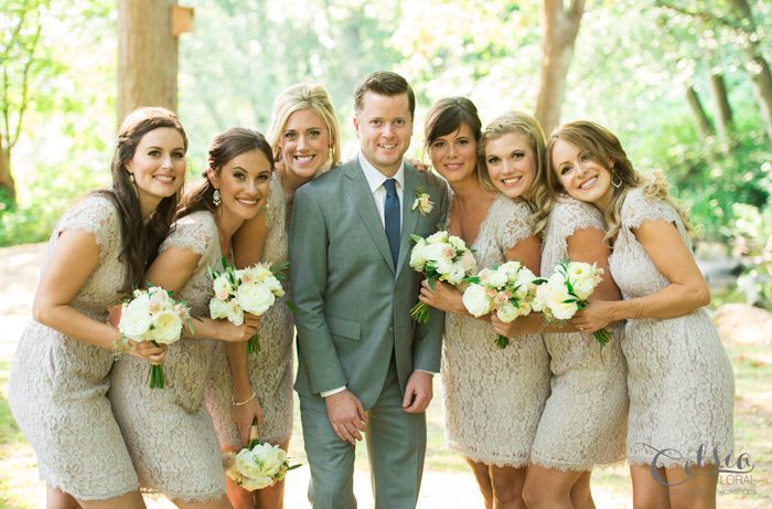 Bridal party and groom