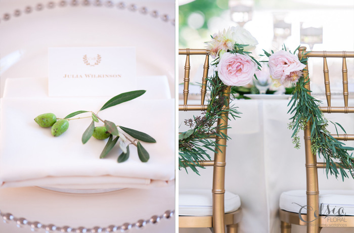 Place setting and chair floral details