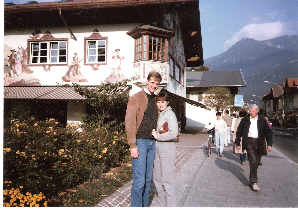 On the streets of Garmisch-Partenkirchen with Kerry Dyer in 1984