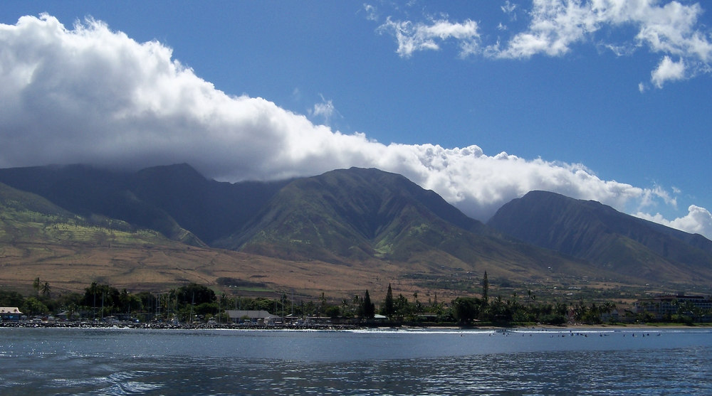 Lahaina from out on the water on the way to Lanai. June, 2014