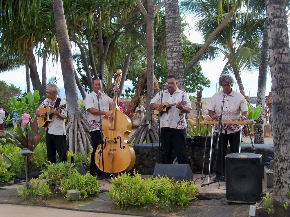 A Hawaiian band warms up the crowd at the Old Lahaina Luau on Maui.