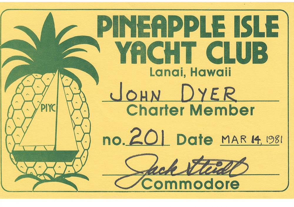 Digital copy of my father's Pineapple Isle Yacht Club membership certificate.