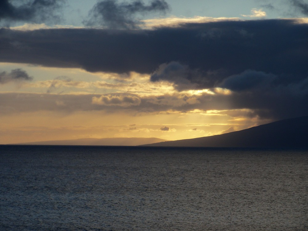 Sunset over Molokai - the view from Maui across the Lahaina Roads