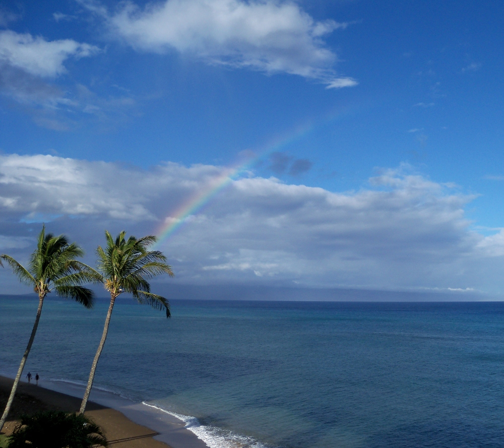 A morning rainbow over the Maui Channel with Lanai in the distance - August 2015