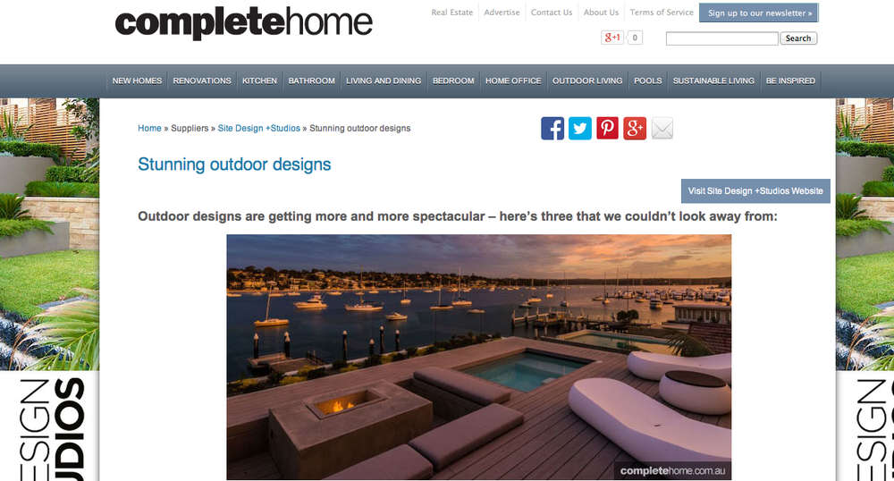 Complete Home  May 2015 Three of our outdoor designs featured in an article for complete home.