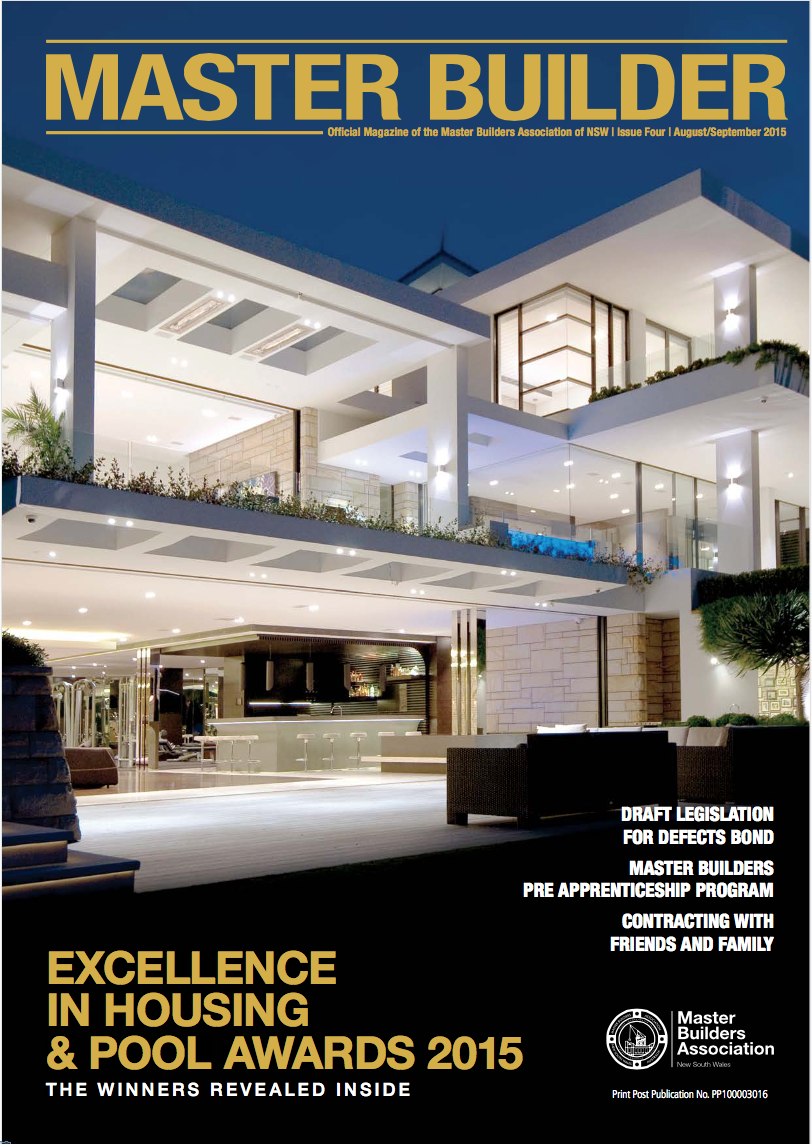 Master Builder Magazine  October 2015 'Shelley Garden' design featured on the cover with a feature article enclosed about 'Nautilus' and Sammut Developments winning the prestigious 'Master Builder of the Year' Award.