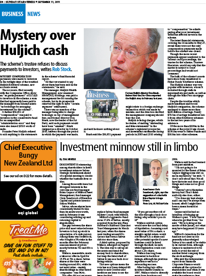 "Sunday Star Times: ""Investment minnow still in limbo"" - September 2011"