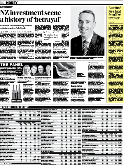 "Sunday Star Times: ""Aust fund feels heat from Kiwi investor"" - February 2010"