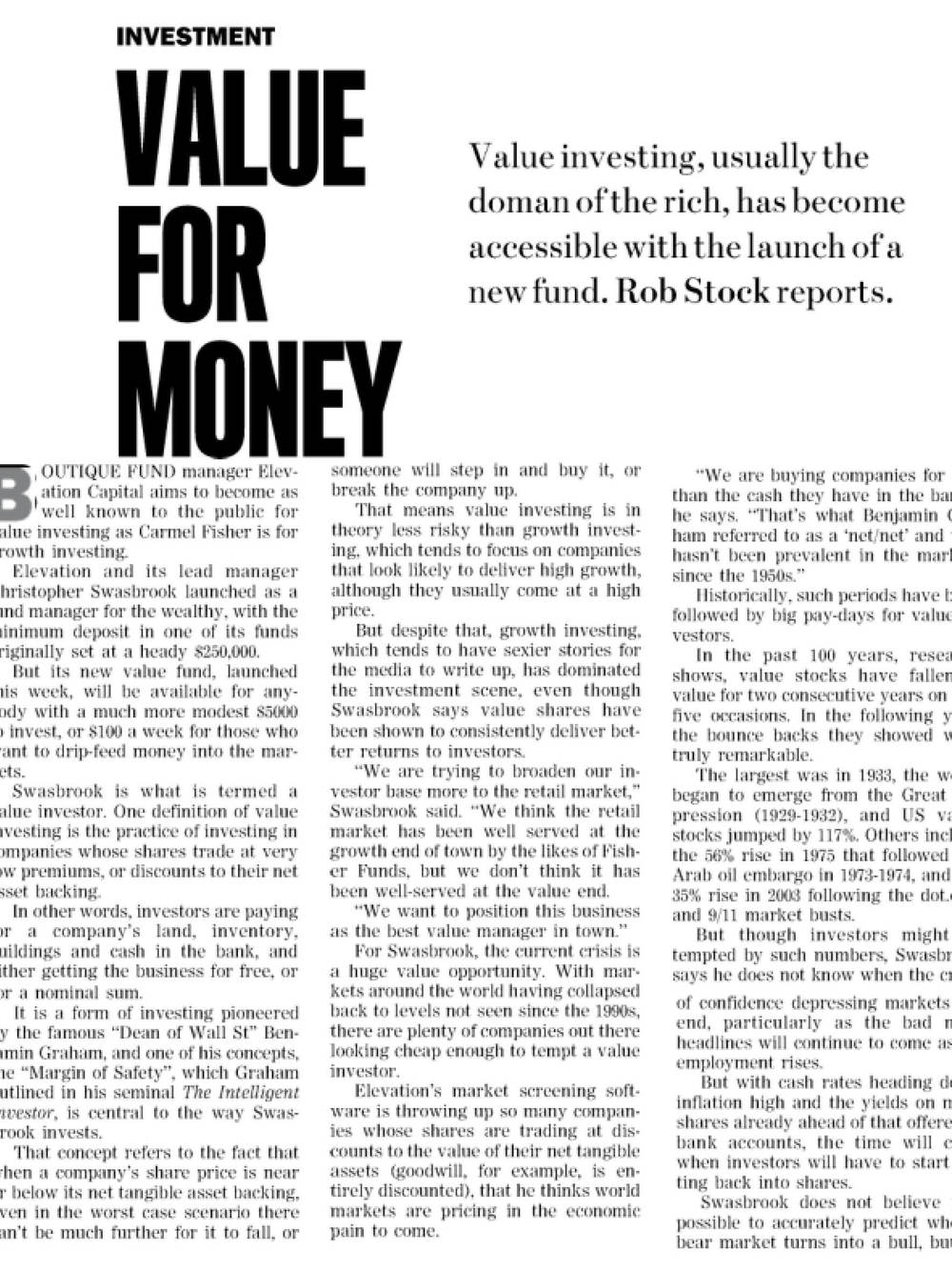 """Sunday Star Times: """"Value for Money"""" – November 2008"""