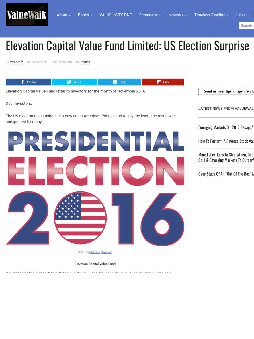 Valuewalk.com: Elevation Capital US Election Surprise - November 2016