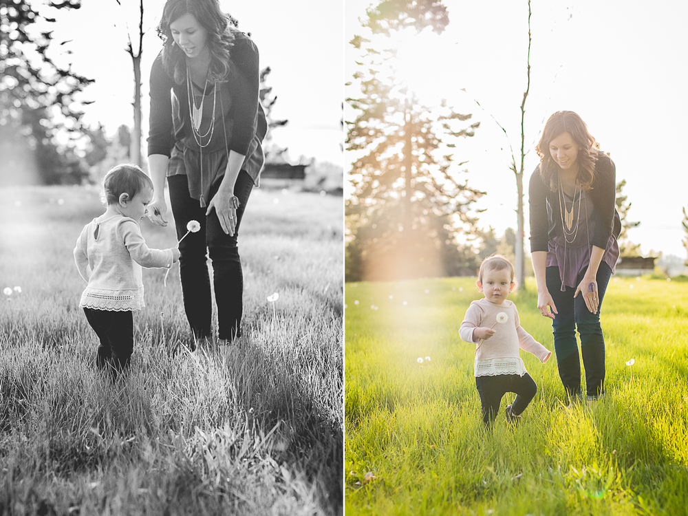 mother daughter, spring, dandelion field