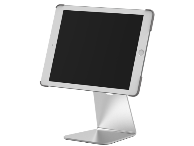 """Table top pivot stand (aluminium) is compatible with the iPad 9.7"""" and the iPad Pro 12.9""""."""