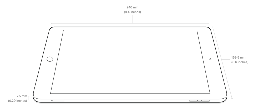 "Dimensions of the iPad 9.7"" (2017) and iPad Air"