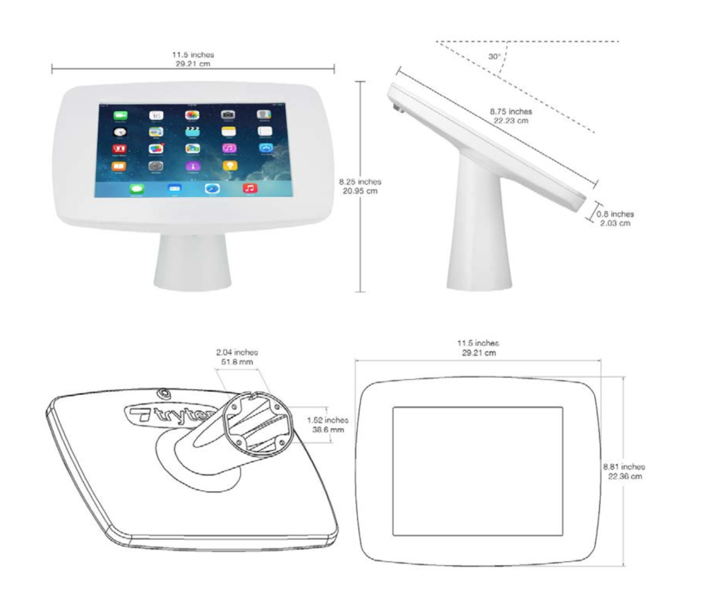 Dimensions for Table Top / Wall Mounted Kiosk (White) for iPad 9.7""