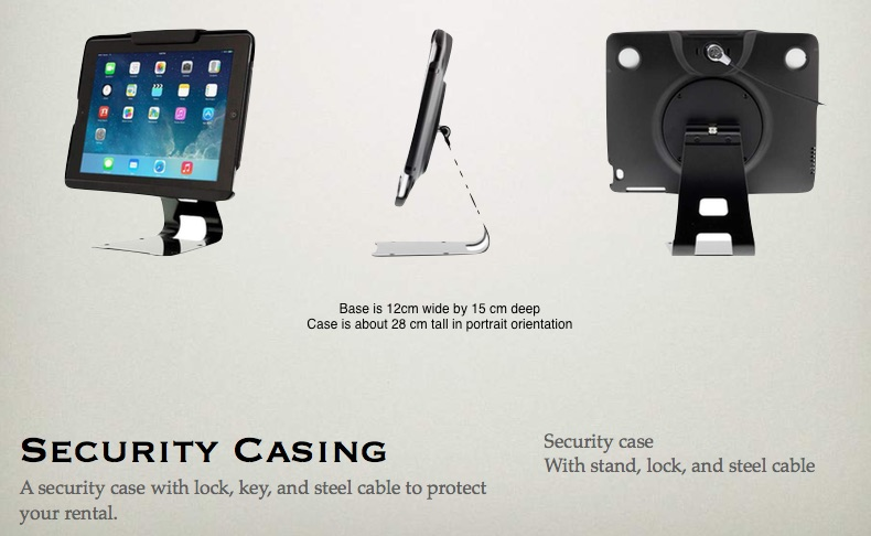 Dimensions for Security case with 360° flip stand (Black) for iPad 9.7