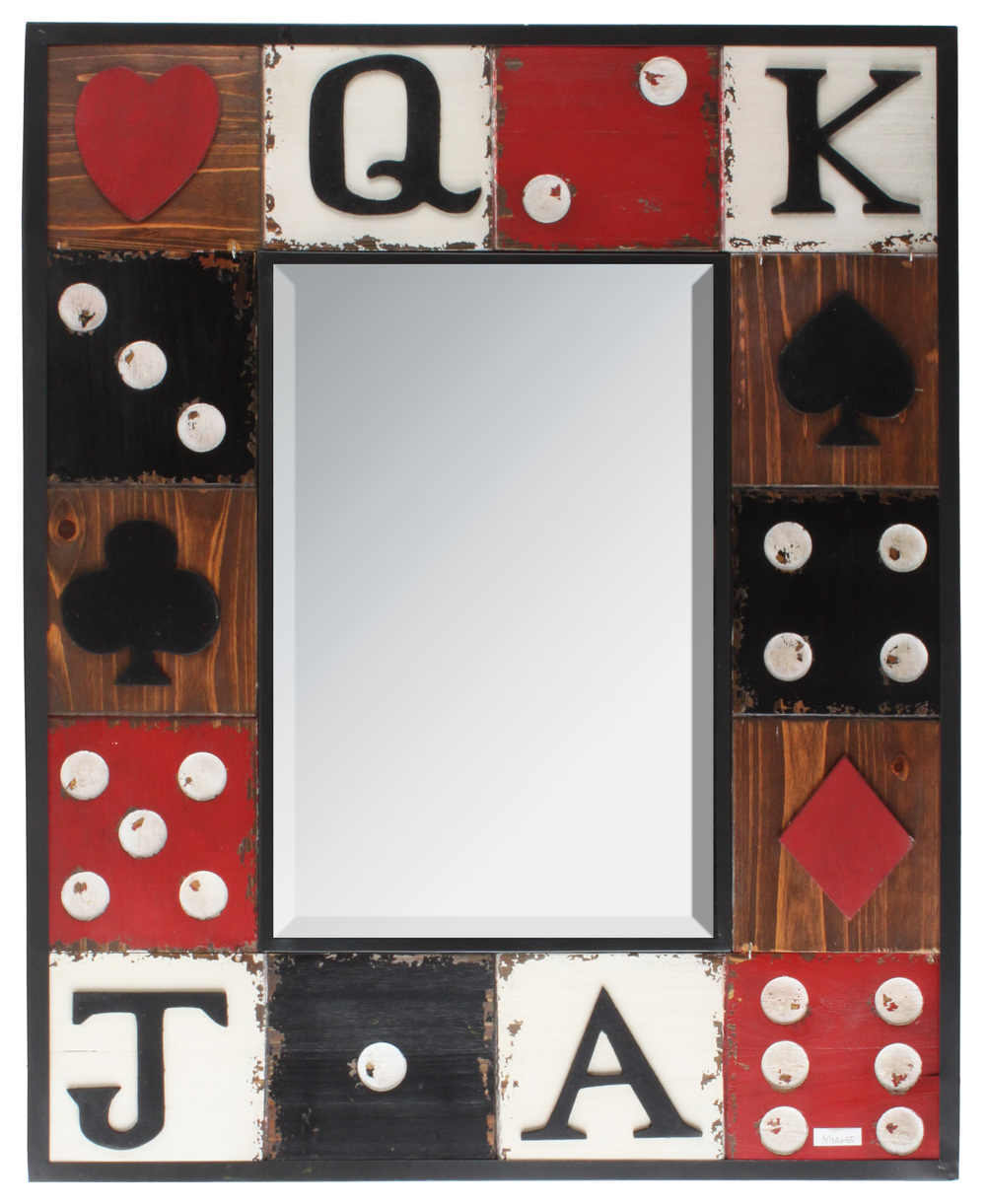 €140 WOODEN/METAL MIRROR 'DICE' 56X85