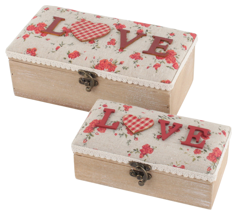 €33 S/2 WOODEN BOX W/ FABRIC DETAILS 'LOVE' 24X13X9