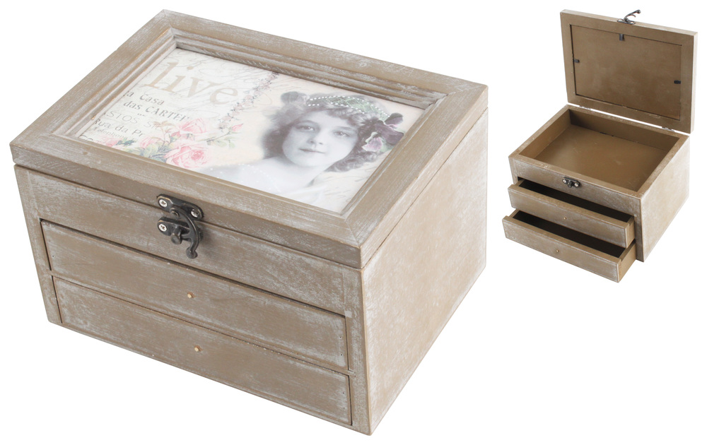 €19 WOODEN JEWELLERY BOX 18Χ13Χ11