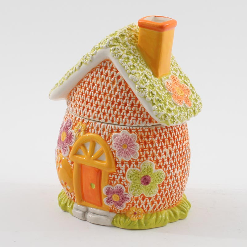 €18 CERAMIC HOUSE BISCUIT JAR IN ORANGE/GREEN COLOR 16X14X22