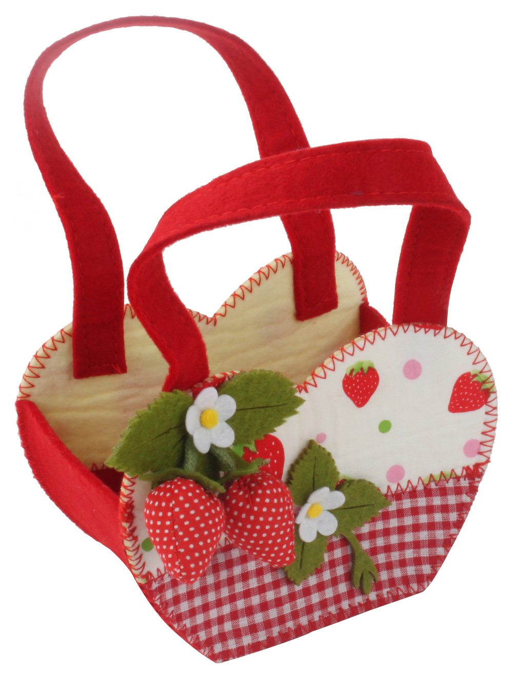 €5 STRAWBERRY FELT BASKET IN RED COLOR 16X10X11(20)