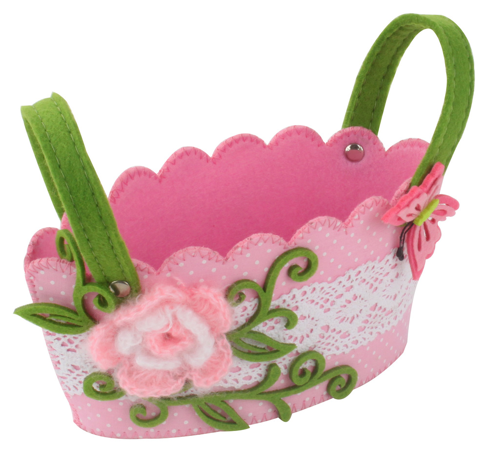 €5 FLOWER FELT BASKET IN PINK COLOR 18Χ11Χ10(16)