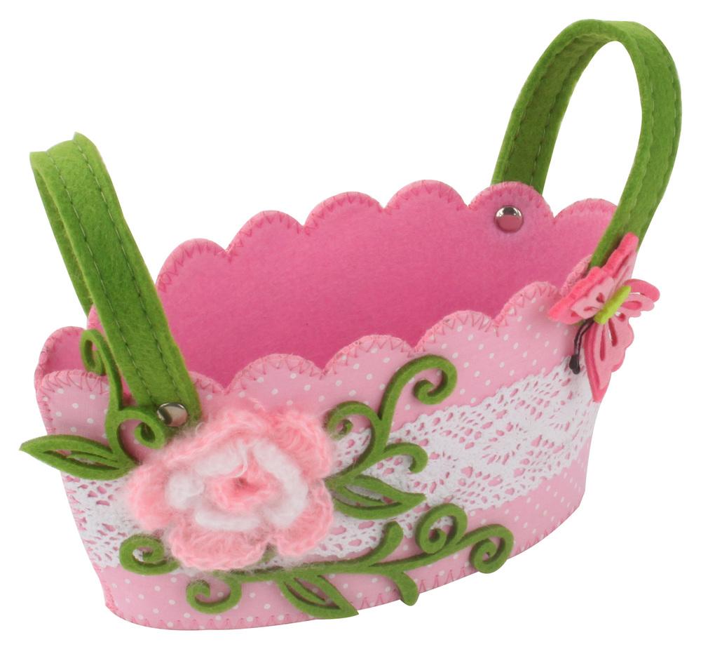 €5 FLOWER FELT BASKET IN PINK COLOR 18Χ11Χ10(16)