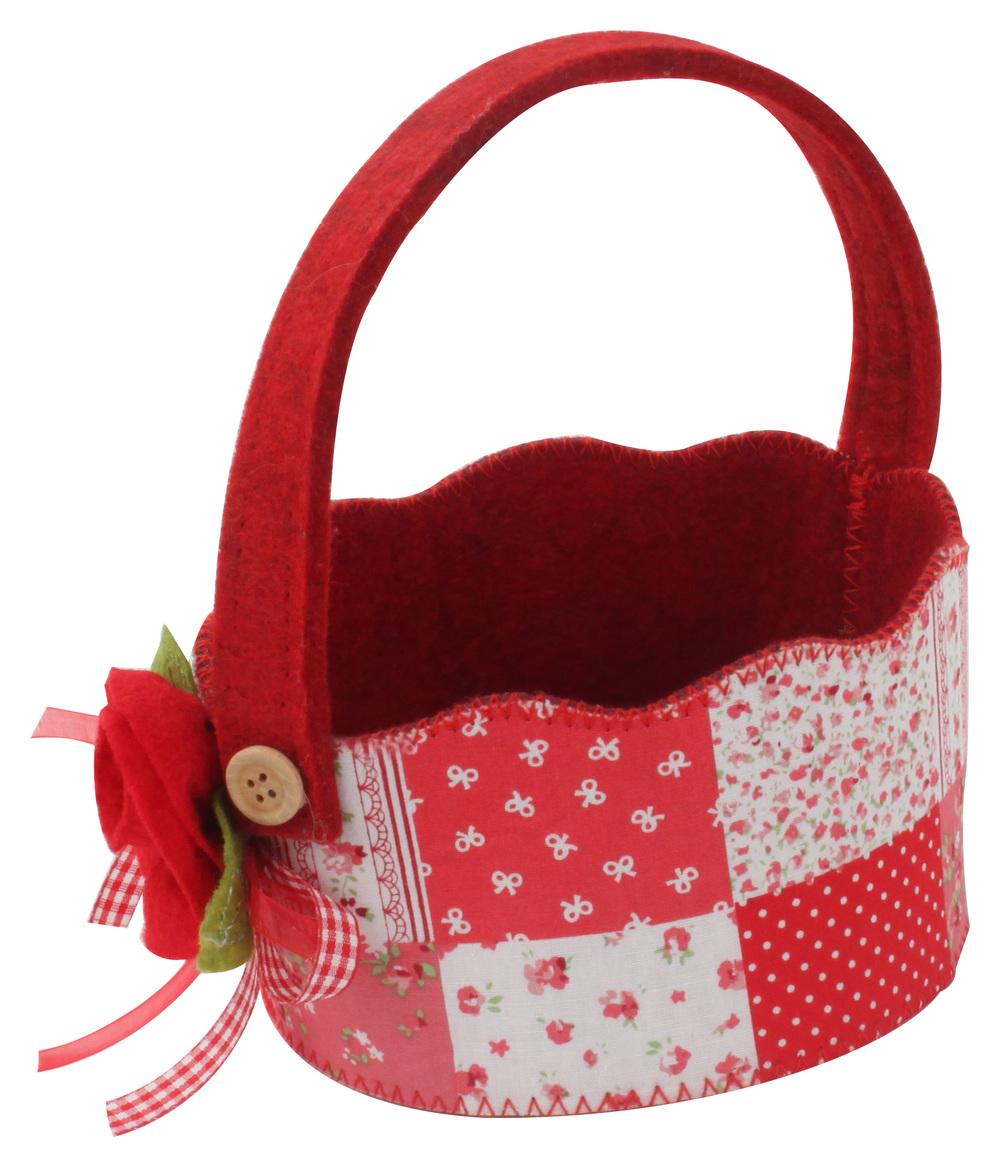 €4 FLOWER FELT BASKET IN RED COLOR 13,5Χ8(18)