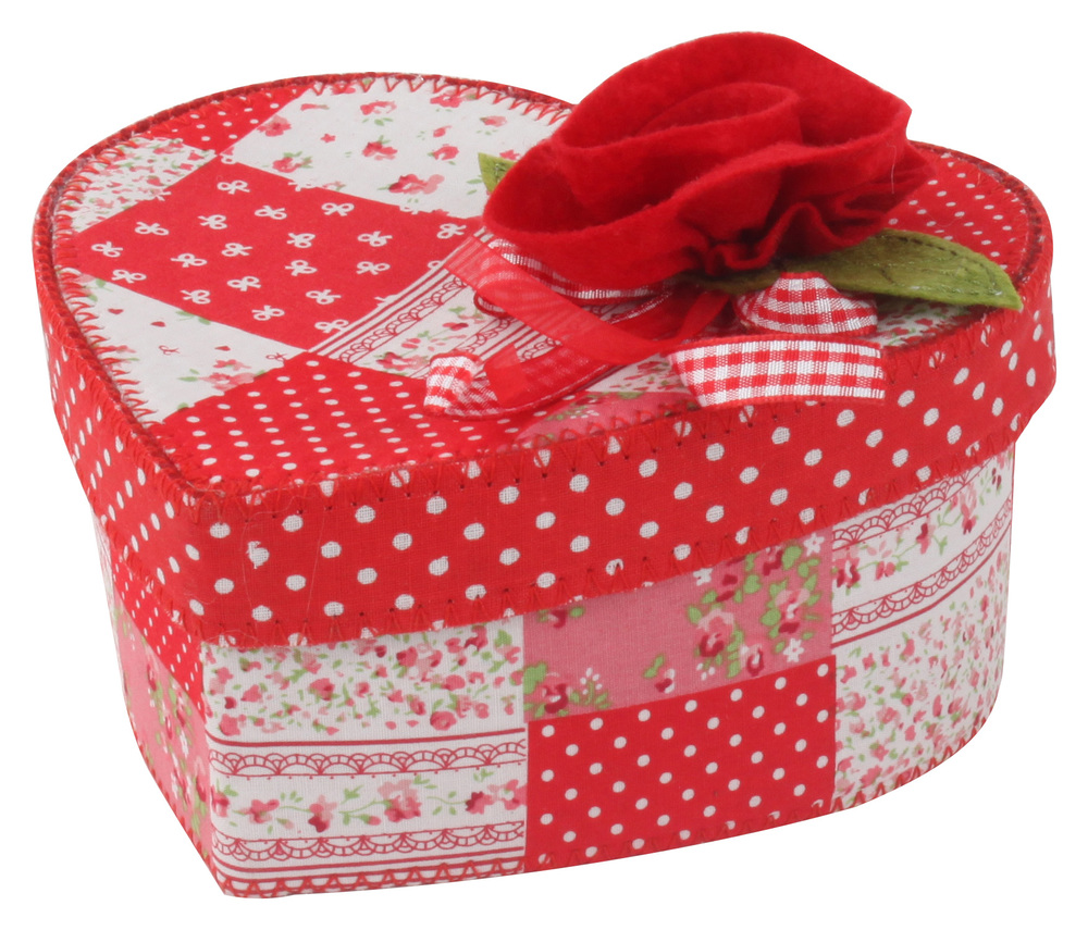 €5 FLOWER FELT BOX IN HEART SHAPE IN RED COLOR 17X15X9