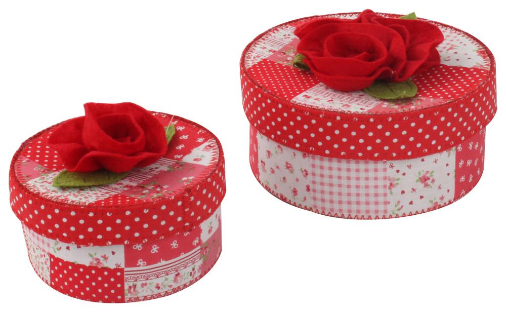 €13 S/2 FLOWER FELT BOX IN RED COLOR COLOR  (12,5Χ8/ 17Χ10)