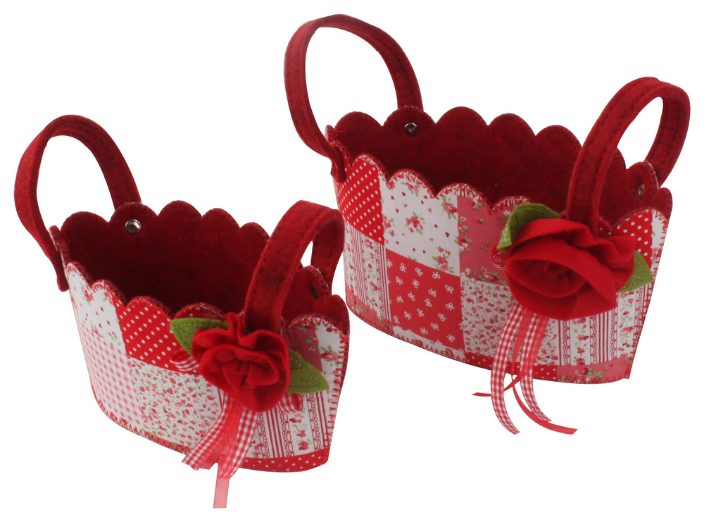 €12 S/2 FLOWER FELT BASKET IN RED COLOR 22Χ13Χ12(22)/ 18Χ11Χ10(16)