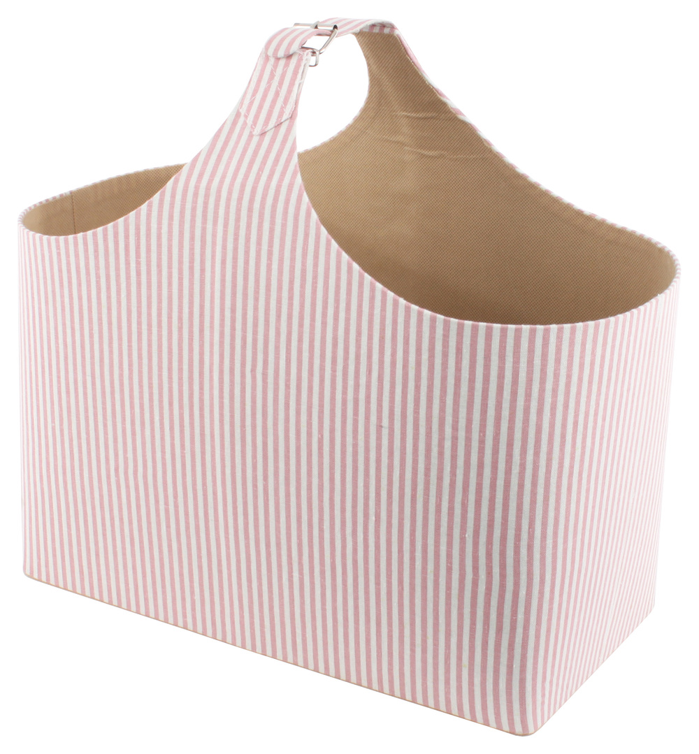 €40 FABRIC MAGAZINE HOLDER W/PINK STRIPES 48X20X41 (10% cotton/10% linen/80% polyester)