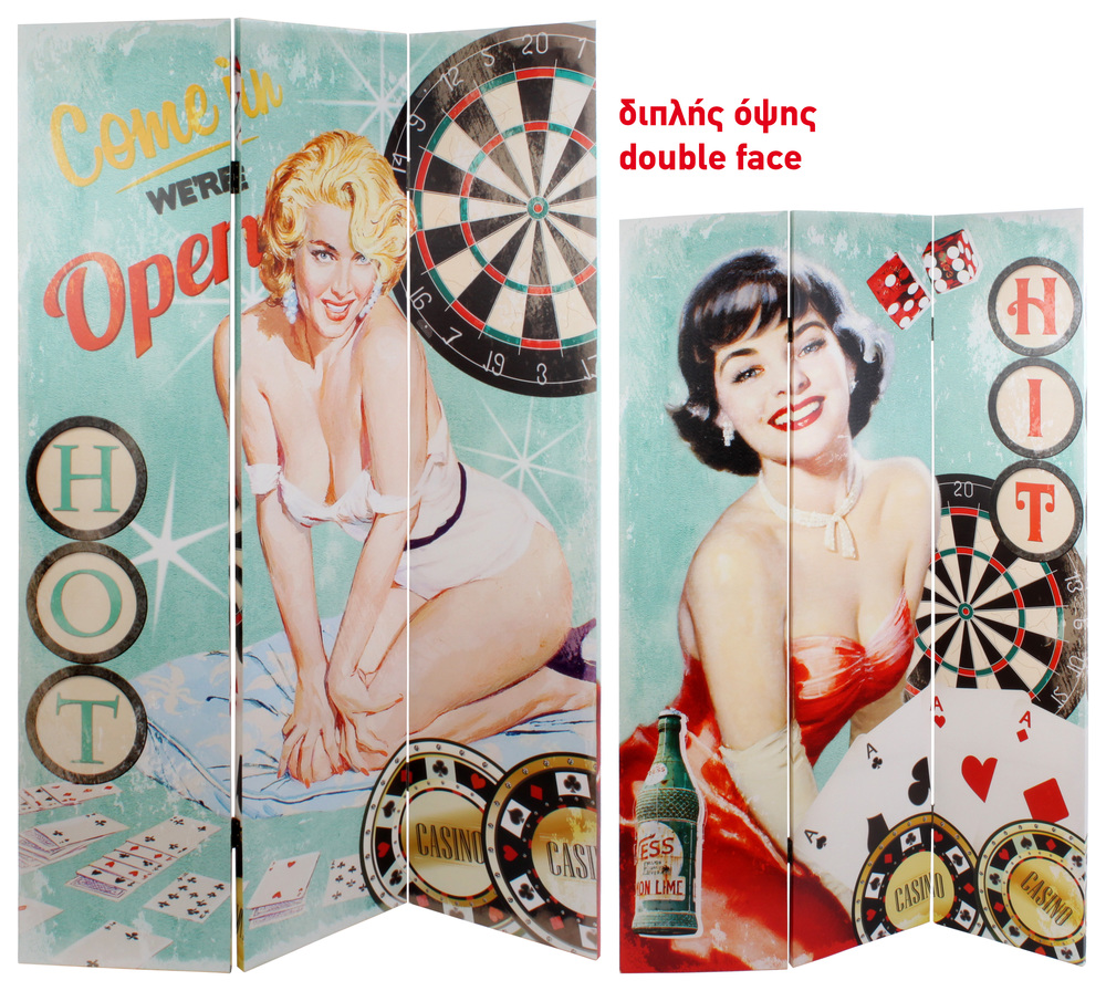 €110 DOUBLESIDE CANVAS PRINTED SCREEN W/PIN UP 120X2.5X180