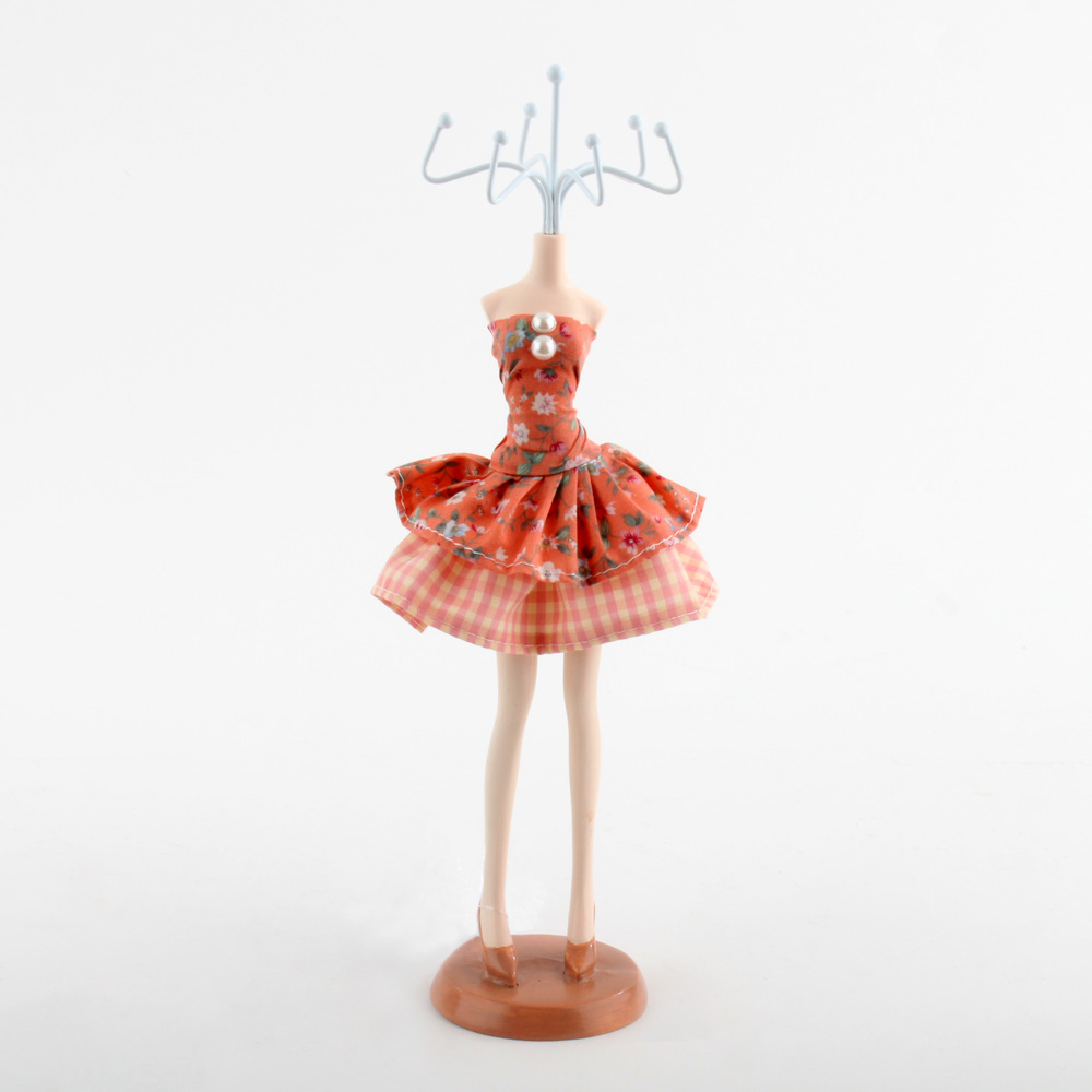 €14 POLYRESIN WOMAN'S BODY JEWELLERY STAND WITH FABRIC DRESS 8Χ30