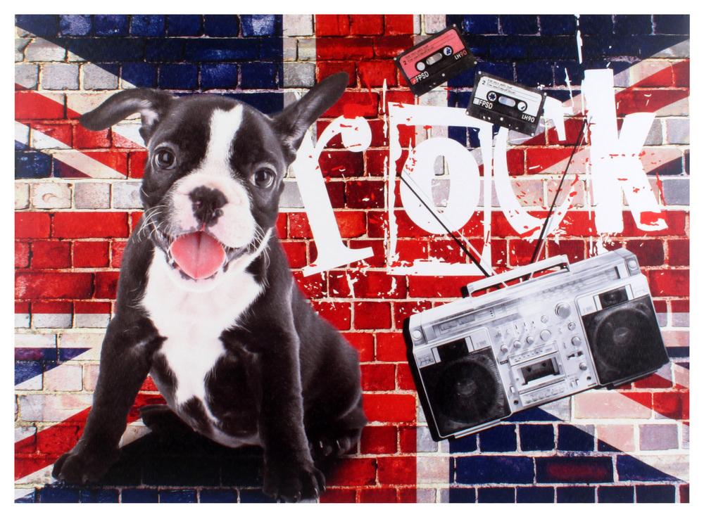 €20 CANVAS PRINTED PAINTING 'BULDOG/ENGLAND' 70X2.5X50