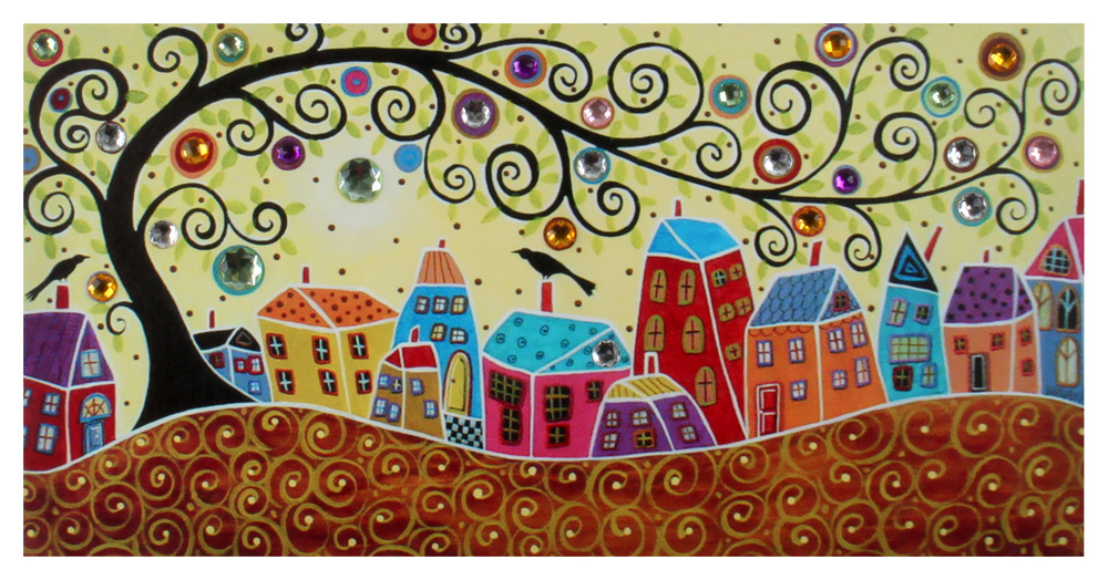 €16 WALL PAINTING PRINTED CANVAS W/STONES 60X2X30