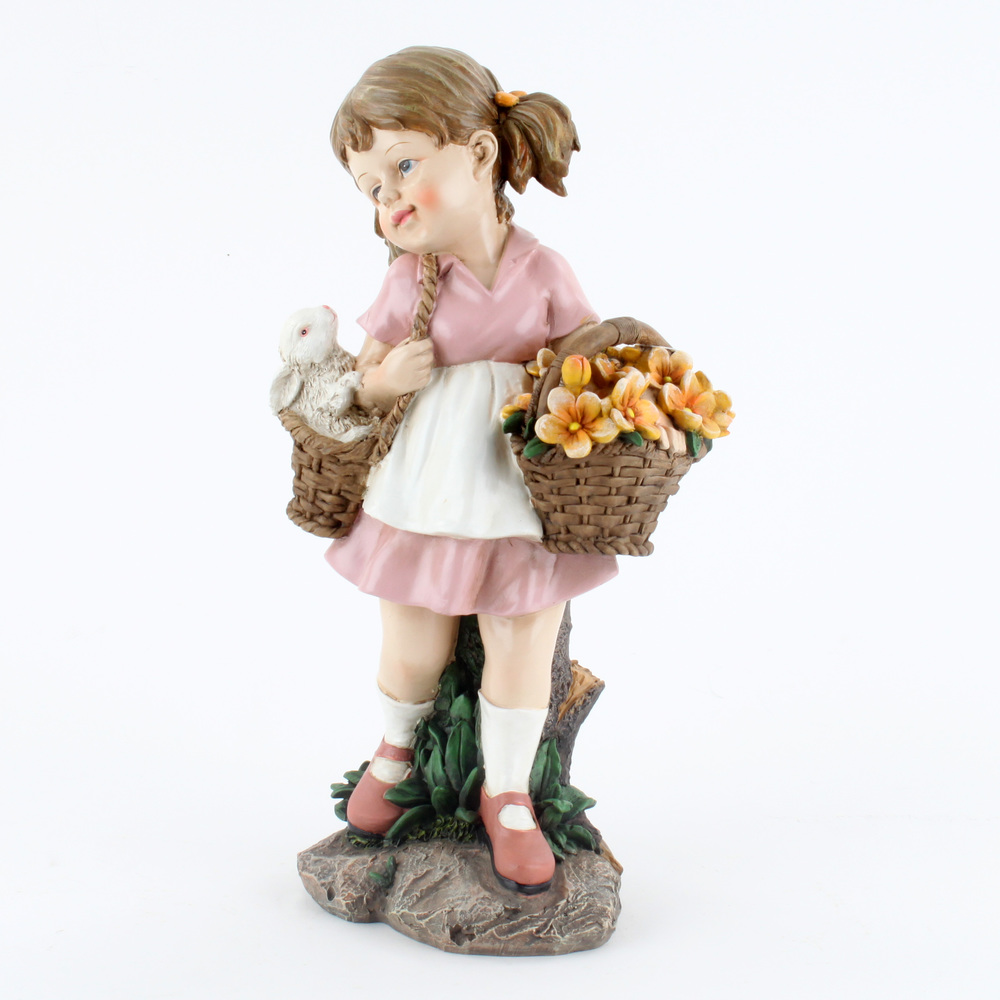 €42 STANDING POLYRESIN GIRL W/FLOWERS 24X16X43.5