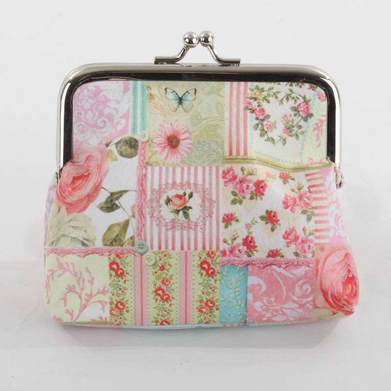 €8 COIN PU PURSE BAG W/ROSES 11Χ3X12