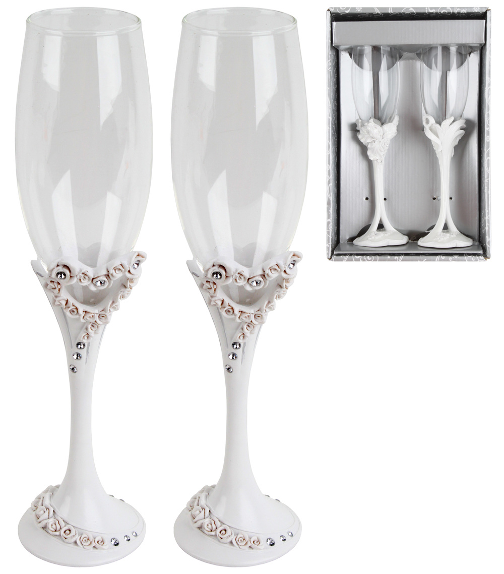 €22 S/2 WEDDING CHAMPAGNE GLASS W/POLYRESIN BASE H-25