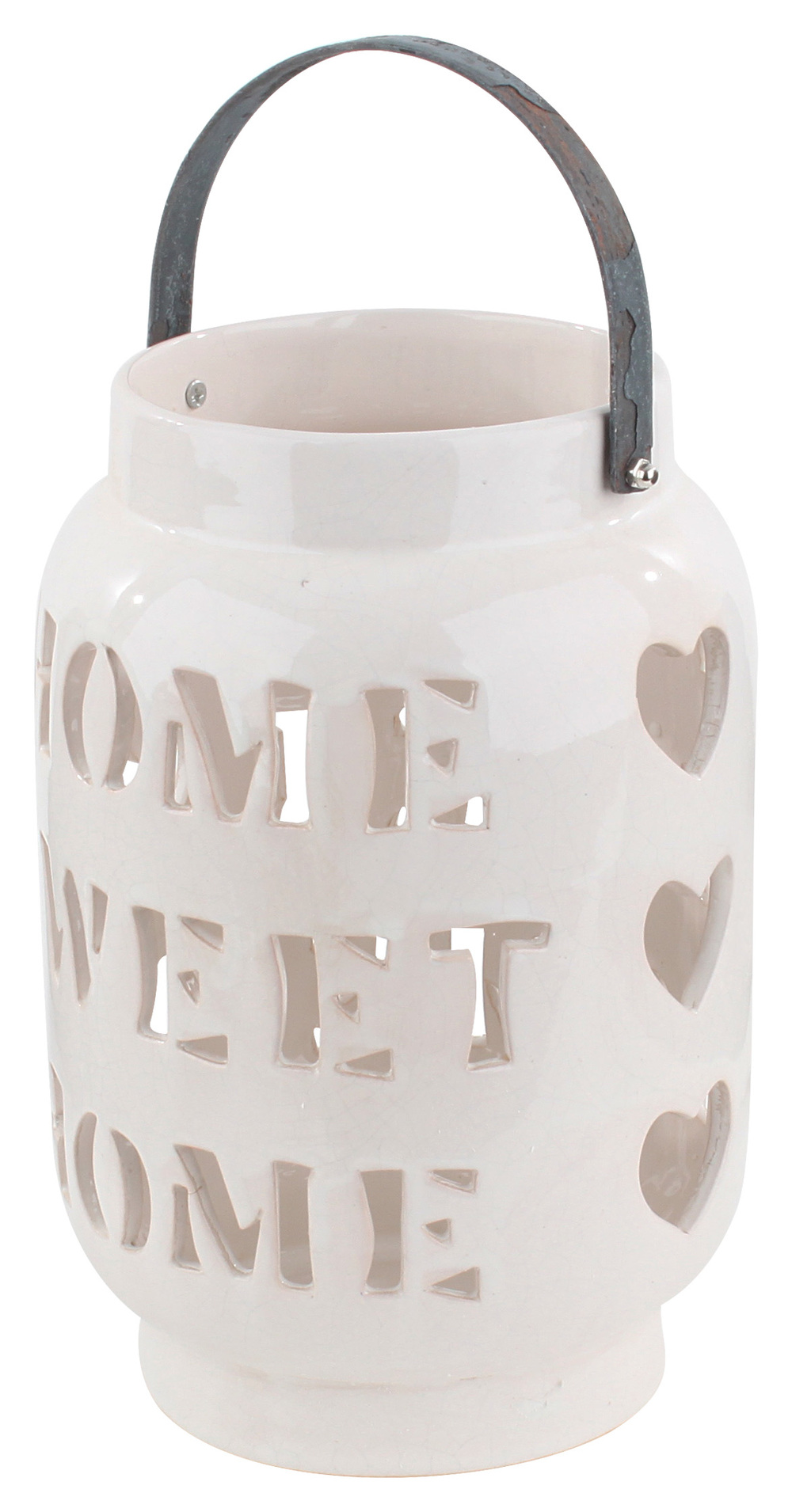€45 CERAMIC LANTERN/CANDLE HOLDER IN IVORY COLOR  'HOME' 19X28.5/35