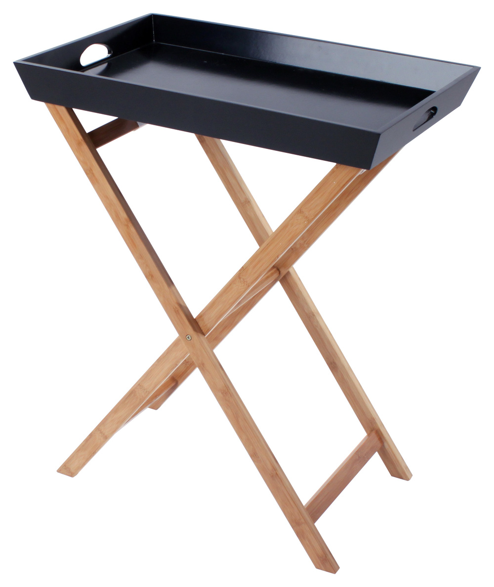 €89 WOODEN TRAY TABLE IN BLACK/NATURAL COLOR 60Χ40Χ74 (BAMBOO-BIRCH)