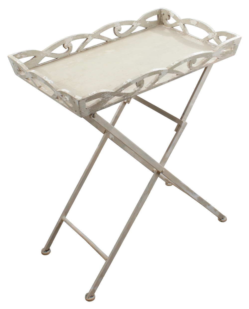U20ac120 WOODEN/METAL TRAY TABLE IN ANTIQUE CREAM COLOR 63X49X77