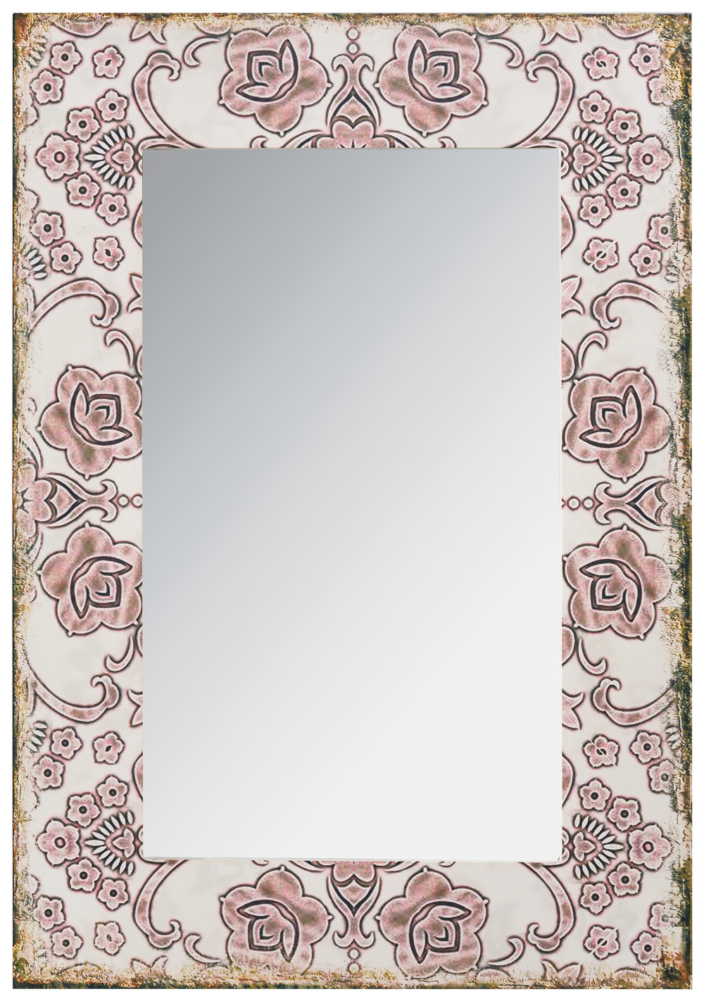 €100 WOODEN WALL MIRROR IN PASTEL PINK COLOR 55X2X77