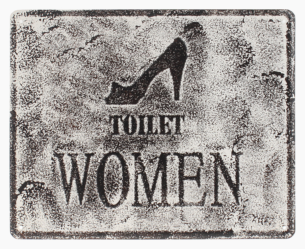 €15 METAL WALL PAINTING  'TOILET WOMEN' 25X20