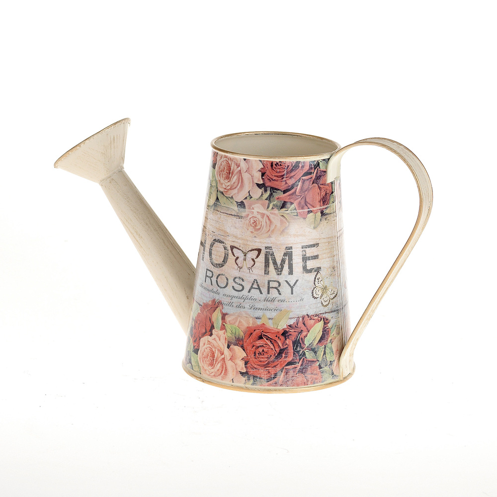 €14 METAL WATERING CUN/FLOWER POT WITH ROSES 8X25X14