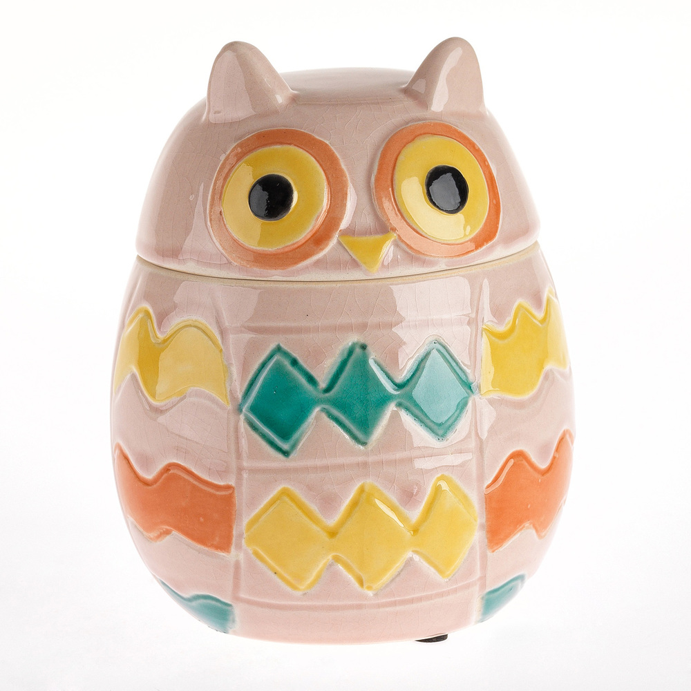 €22 CERAMIC OWL/BOX IN PINK COLOR 14X14X17,5