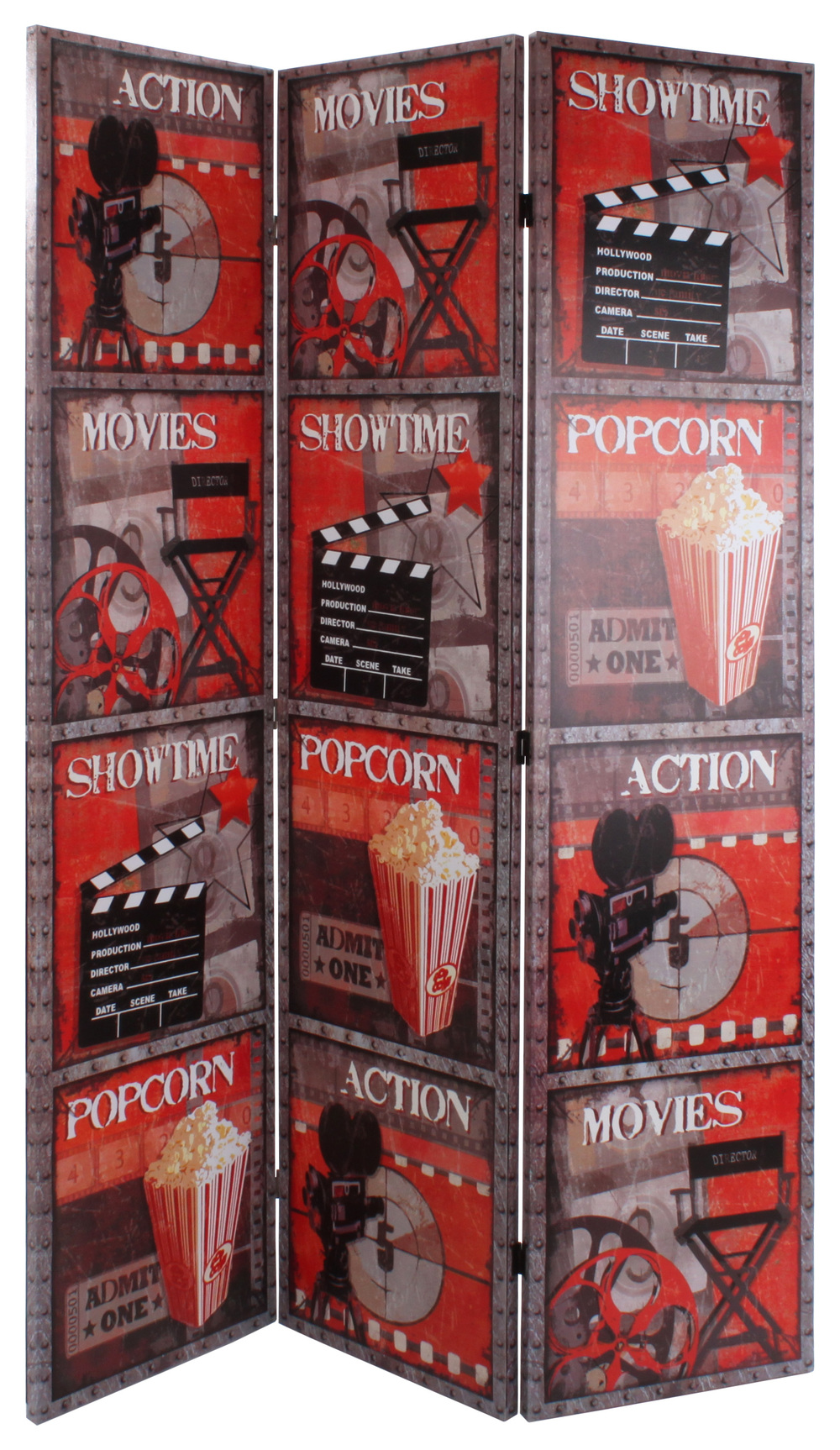 €110 PRINTED CANVAS SCREEN W/ MOVIES DESIGN 120X2X180 (DOUBLE FACE)