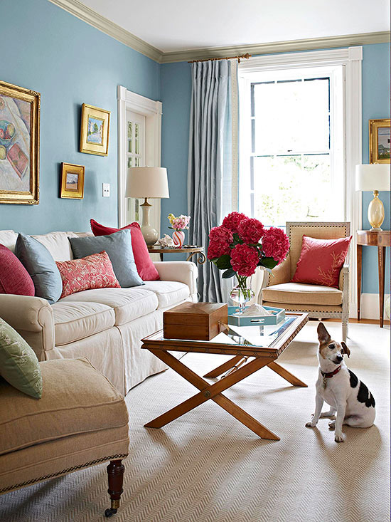 Omfy And Serene, This Pale Blue Living Room Bursts With Color Thanks To The Hot  Pink Accents. But, It Is Perfectly Balanced Thanks To The Sand Colored ... Part 28