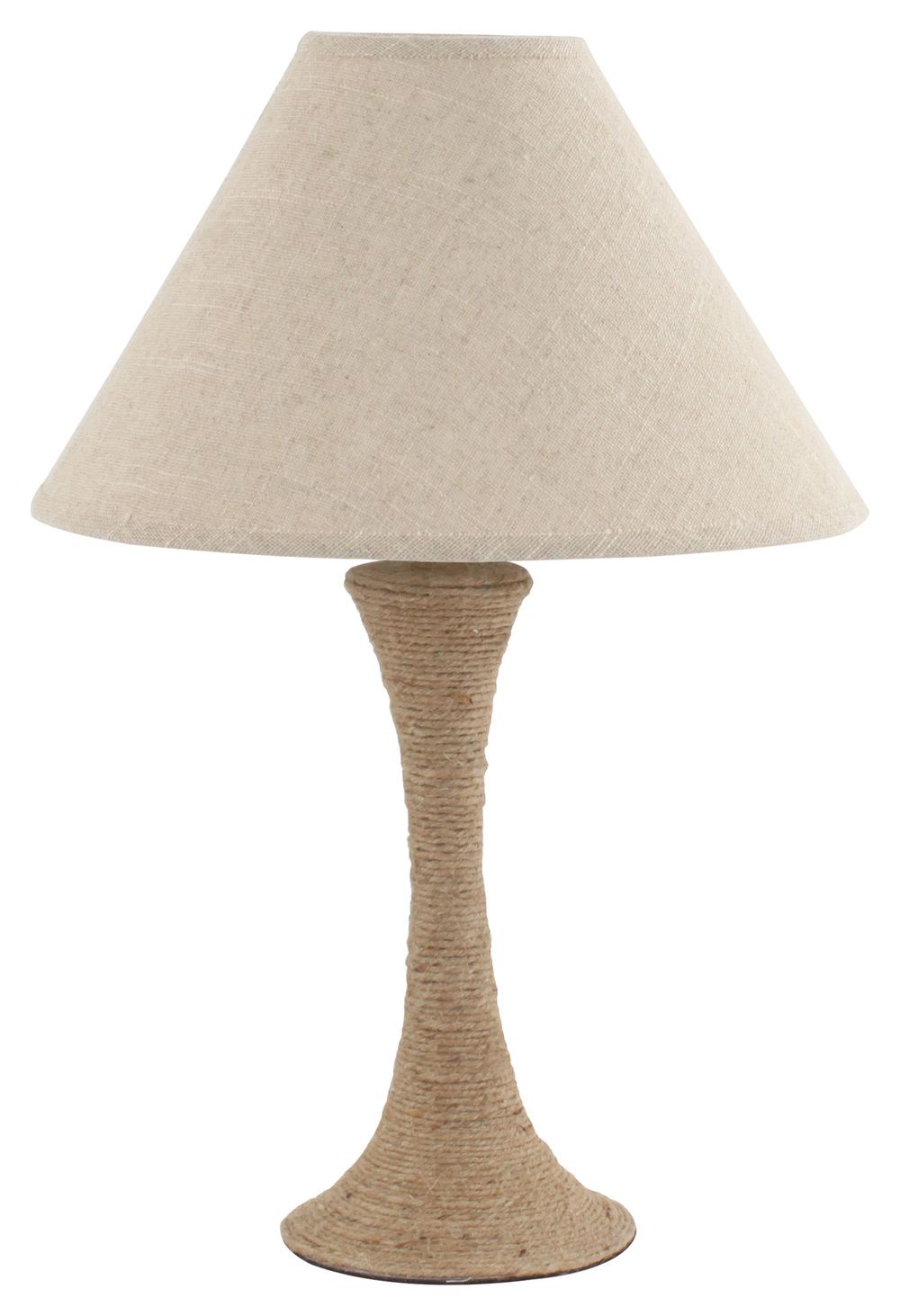 €62 CERAMIC TABLE LAMP W/ROPE COVER IN BEIGE W/FABRIC SHADE 35X59 (POLYESTER)