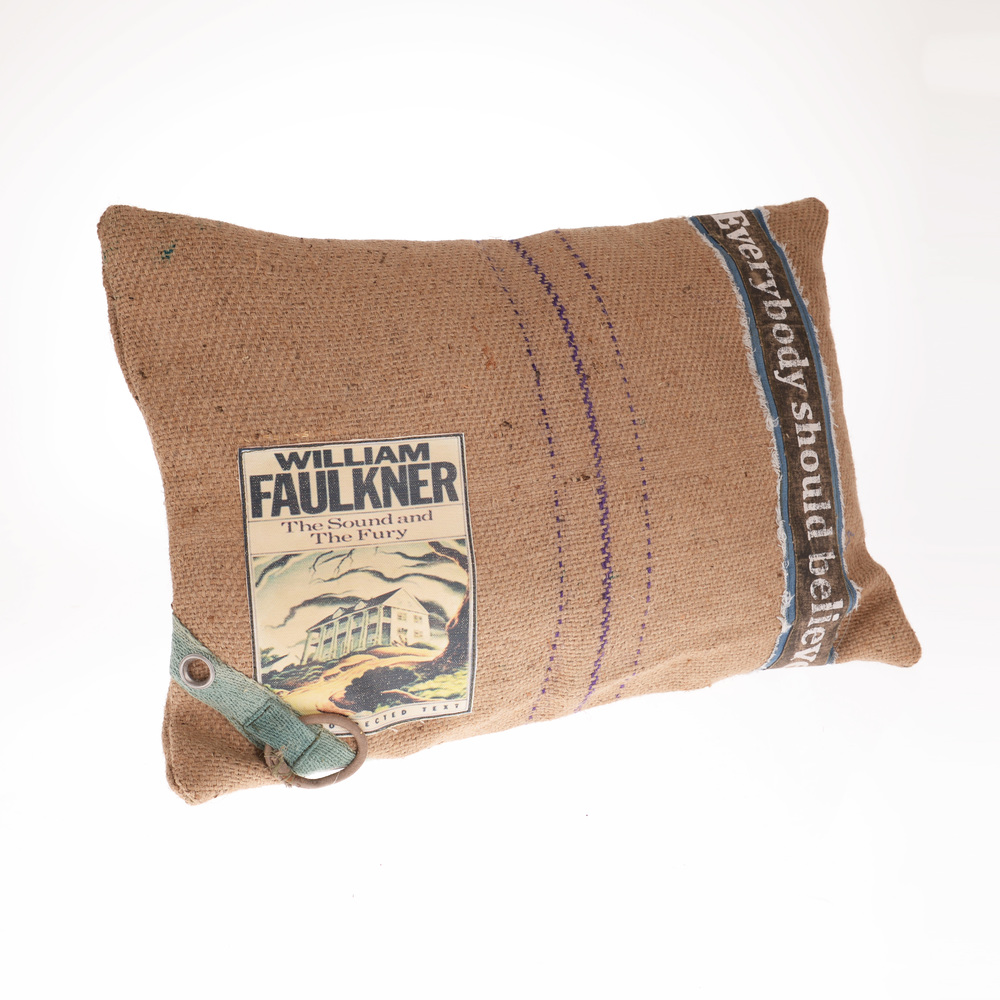 €50 FABRIC CUSHION IN BEIGE/BLUE COLOR 60X40